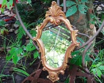 Mirror, Gold Mirror, Italianate Mirror, Baroque Mirror, Ornate Mirror, Gold Frame, Syroco, Cottage Mirror, Casakarmadecor, Unique 1970s