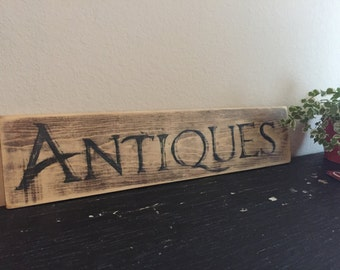Antiques Sign, Wooden hand painted sign