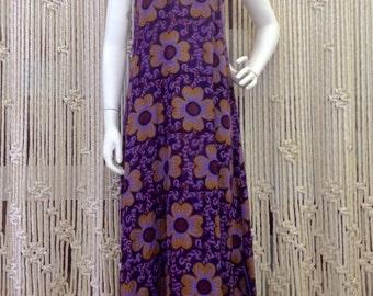 70s Purple Flower Linen Maxi Dress Things by Judy's