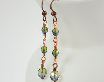 Olive and Copper Dangle Earrings - Linear Drop Earrings - Beaded Earrings