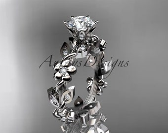 14kt white gold diamond leaf and vine wedding ring,engagement ring ADLR209
