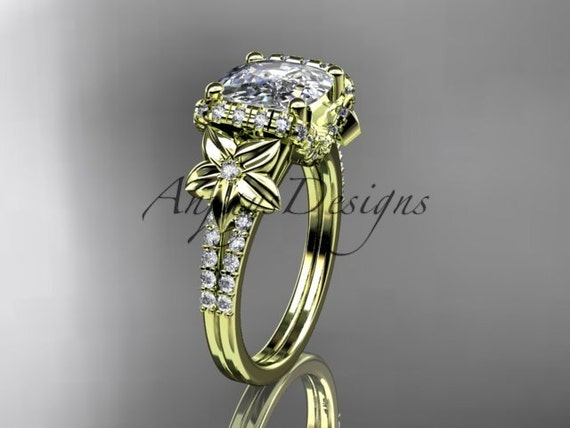 14kt  yellow gold diamond floral wedding ring,engagement ring with cushion cut moissanite ADLR148