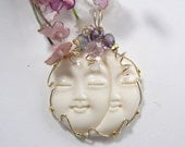 Large Carved Moon/Sun Face Wire Wrapped Pendant using 14kgf 10-20% off coupons, Reduced Shipping  (w13061)