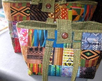 Tribal Ethnic Yarn Tote Carryall Set with Needle Rolls and Pockets ,  Quilted Craft Project Tote