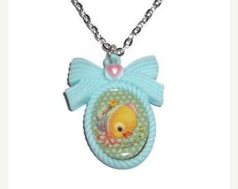 Baby Animal Necklace, Cute Duckling, Kawaii Retro Vintage Style Baby Duck
