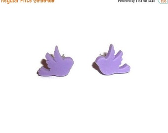 Pastel Post Earrings, Lilac Bird Dainty Stud Earrings, Little Sparrows