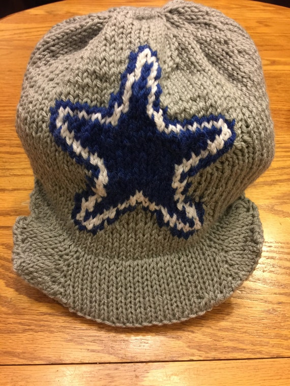 Dallas Cowboys Knit Hat Pattern : Dallas Cowboys Logo Cap Beanie Hat PATTERN Cap with Bill