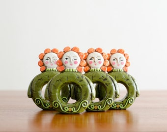 Rare Vintage Set of 4 Mod Winking Eye Girl Napkin Rings  - Mid Century