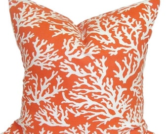 ORANGE PILLOW Sale.14x14 inch.Pillow.Decorative Pillow Cover.Beach Decor.Decorative Pillows.Housewares.Throw.Nautical.Sea..Indoor.Outdoor.cm