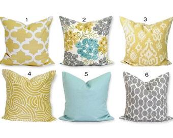 Teal YELLOW Pillow Covers, Teal Pillows. Gray Pillows, Teal Pillow, Floral Pillow, Teal Throw Pillow, Gold Pillow, Pillow Sham.Euro Sham.cm