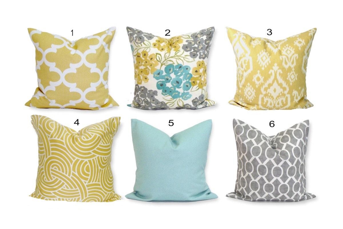 Teal YELLOW Pillow Covers Teal Pillows. Gray Pillows Teal