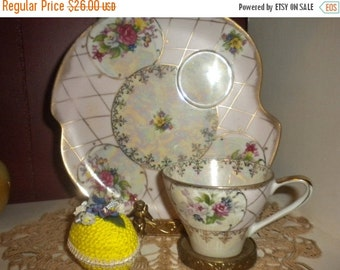 SUMMER SALE Victorian teacup and extra large saucer/ pastry plate,pink,roses,luster,french country,cottage,cottage chic,paris apartment,shab