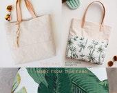Palm Tree Beach Bag / Canvas Beach Tote / Tropical Shopper Tote