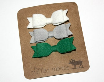 Baby/Girl Felt Bow Clips - Michigan State Bow Set - Hair Bow Hairclips - St. Patrick's Day Set - Wool Felt Bows - Baby Toddler Hair Clips.