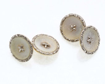 Vintage 14k yellow white gold Round Mother of Pearl Cufflinks Estate
