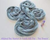 Bay Breeze - Multicolor Merino & Tussah Silk Top from Ashland Bay - 2 oz of Multicolor Combed Top for Spinning or Felting