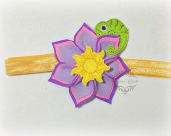 Rapunzel Headband Inspired Felt Flower Headband Dahlia Flower Headband Choose Elastic or satin hard headband!