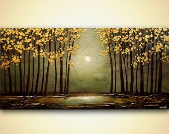 """Original Forest Painting 48"""" x 24"""" Original Heavy Palette Knife Texture painting by Osnat Tzadok Gold leaves"""