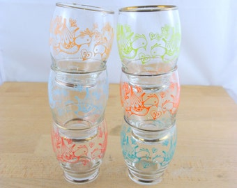 Vintage Mid Century Drinking Glasses w/ Scandinavian Love Bird Design | Set of 6 Glasses | Gold Rimmed | Vintage Barware