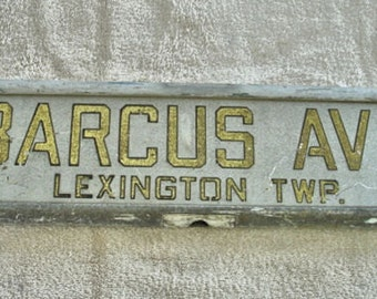 Vintage 1950s Metal Street Sign Barcus Ave. Lexington TWP Double Side Old Street Sign