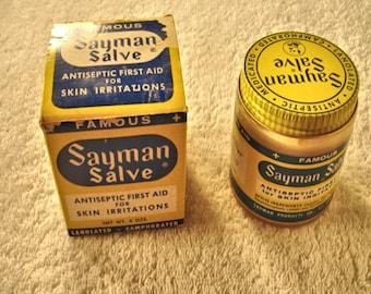 Vintage 1920s Dr. Sayman's Healing Salve Jar With Original box Quack Medicine
