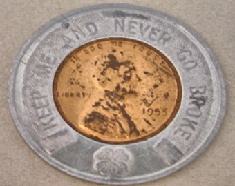 "Vintage 1955D Encased Lincoln Penny "" Getz & Eikenberry Ambulance Service Lot no. 56"