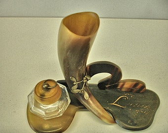 Vintage Footed Cow Horn Ink Well Western Style Pen Dipping Glass Well Odd Looking