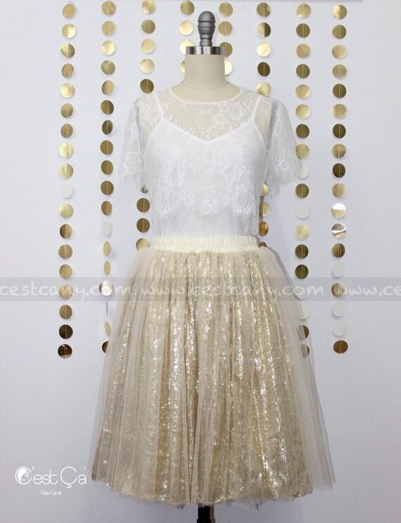 d8b6292b0d Chloé - Sequin Tulle Skirt, Champagne Tulle Skirt, Midi Tulle Skirt, Plus  Size