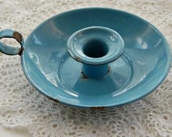 Vintage French, enamel candlestick, blue chamberstick, enamel candle holder, blue enamelware, French home decor, cottage chic,