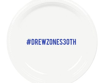 Hashtag Personalized Birthday Plastic Plates - 7 inch Dessert Size - Personalized Cake Plates