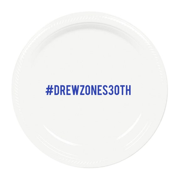 Il_570xn  sc 1 st  Catch My Party & Hashtag Personalized Birthday Plastic Plates - 7 inch Dessert Size ...