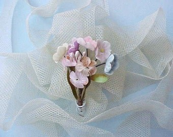 Sweet Tiny 1950's Bouquet of Millinery Flowers for Doll or Small Project