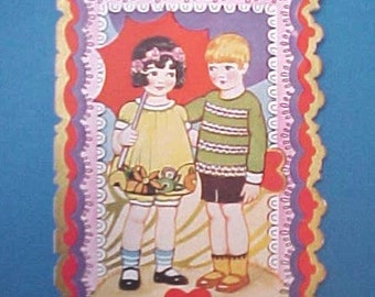 Sweet Vintage Valentine Card with Shy Little Boy and Girl