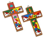 Vintage 90s Set of Two Colorful Handmade Wooden Crosses From El Salvador