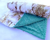 Snow True Timber and Teal Adult Size Blanket - Snow True Timber and Navy Twin Bed Size Blanket