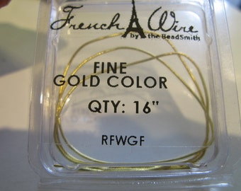 French Wire Gold Plated, Fine French Wire, French Bullion Gold Colored, Fine Coil, Thread Protector- Gold Color, Pearl Knotting Supply