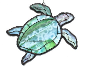 Stained Glass SEA TURTLE - Greens, Raspberry Pinks, White, Turquoise - USA Handmade Original Design