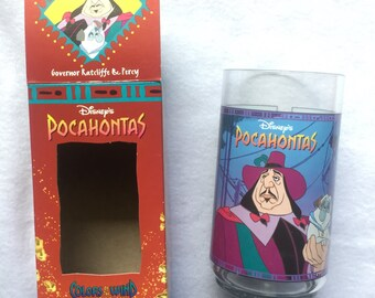 Vintage Pocahontas Disney Collector's Cup Governor Radcliffe and Percy Colors of the Wind Collection Burger King glass
