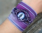 Purple Dragon's eye wire wrapped wrist cuff/Wire wrapped bracelet/Dragon eye bracelet/Gifts/Gift ideas/Goth/Gift for her