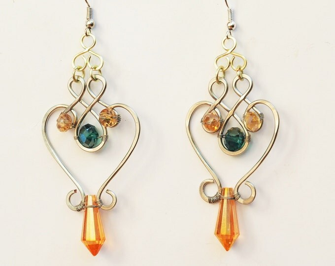 Fall earrings Oriental jewelry Gypsy Gift for her girlfriend Greek Goddess Boho Dangle Emerald green Drop Crystal Anniversary gift