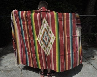 Mexican Saltillo Serape Blanket Antique Wool Blanket 1940-1950 era