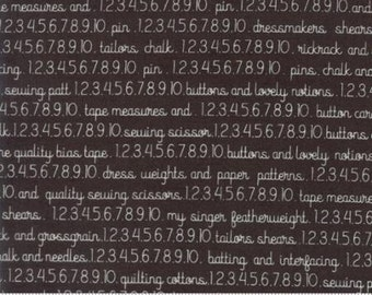 Pre-Order-Chestnut Street Floral Sewing Text Chalkboard by Fig Tree Quilts - Moda - 1 Yard