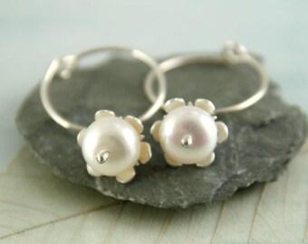 Pearl Dangle Hoops - Silver Sleeper Earrings with White Flowers