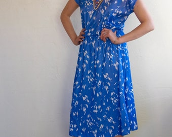 Blue Vintage Dress Sweet Periwinkle Ruffle Collar