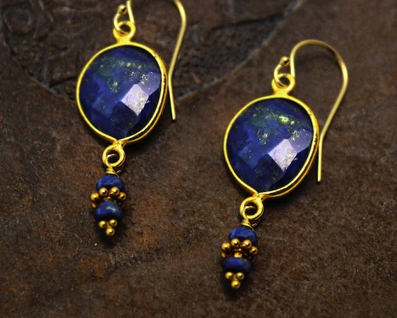 Lapis Lazuli Bezel Set Dangle Earrings. 22k Gold Vermeil. Gold and Blue Earrings. E-2011.