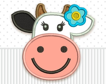 Cow Cute Applique Machine Embroidery Design for Baby AN024