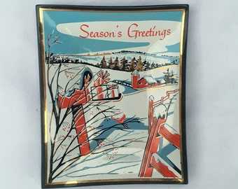 Vintage HOUZE GLASS Christmas Card Trinket Tray Dish Excellent Condition (Mailbox)