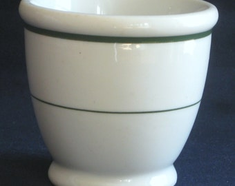 McNicol China Footed Egg Cup Restaurant Diner Ware Green Band Excellent Condition
