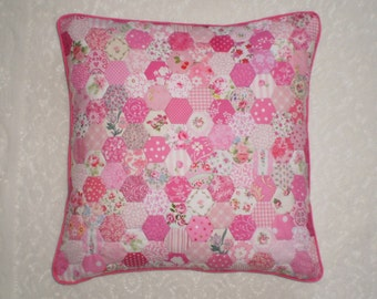 "Pretty Pink Patchwork Cushion Cover in Handstitched Hexagons - 16"" square"