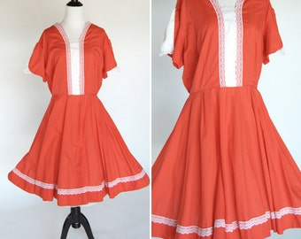 Vintage 1960's Red Square Dance Dress with a white lace panel and full skirt - red cowgirl country Dress - ladies size large to extra large
